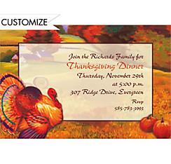 Festive Turkey Custom Invitation