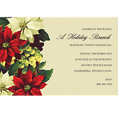 Regal Poinsettia Custom Christmas Invitation