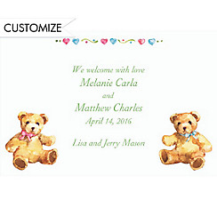 Teddy Bears with Pink and Blue Custom Birth Announcements