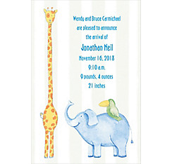 Custom Jungle Animals Stripe Birth Announcements