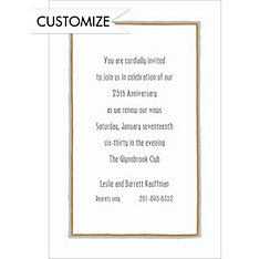 Gray & Gold Lines/White Custom Invitation
