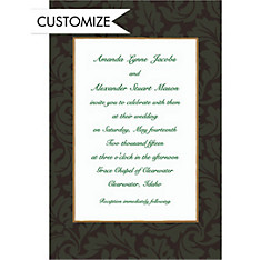 Green Antique Damask Border Custom Invitation