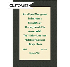 Green Texture/Ecru Custom Invitation