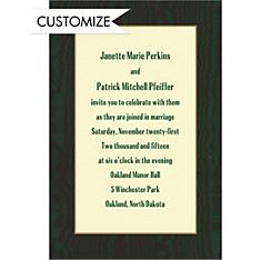 Dark Green Moire and Ecru Custom Invitation