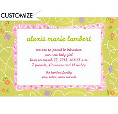 Flowers and Butterflies Custom Birth Announcements