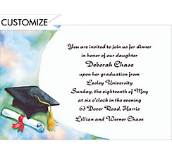 Black Mortarboard and Swoosh Custom Graduation Invitation