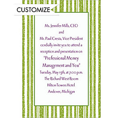 Key Lime Chalk Stripe Custom Invitation