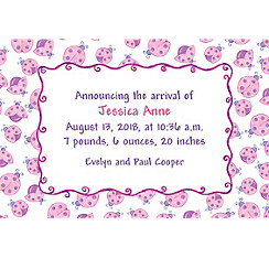 Custom Pink Ladybugs Birth Announcements
