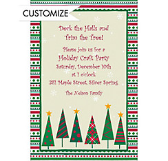 Mod Trees and Stripe Border Custom Christmas Invitation