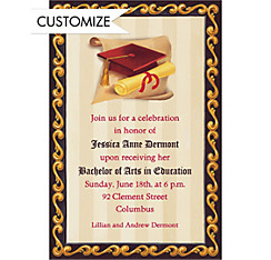 Custom Red Grad Portrait Graduation Invitations