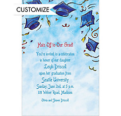 Big Tossed Caps & Confetti Custom Graduation Invitation
