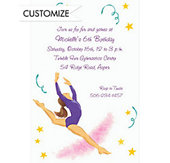 Leaping Gymnast Custom Invitation
