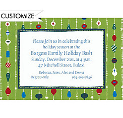 Ornament Stripes Custom Christmas Invitation
