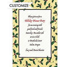 Holly & Polkadots Custom Christmas Invitation