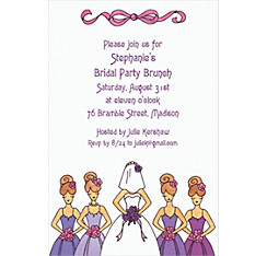 Custom Cute Bride & Bridesmaids Wedding Invitations