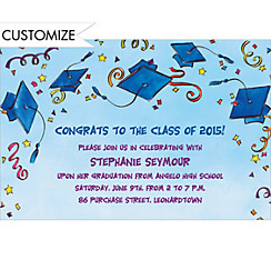Blue Tossed Caps & Stars Custom Graduation Invitation