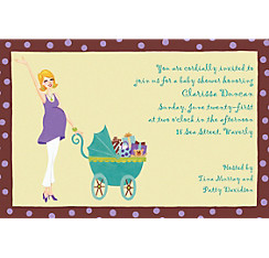 Momma with Carriage Custom Baby Shower Invitation