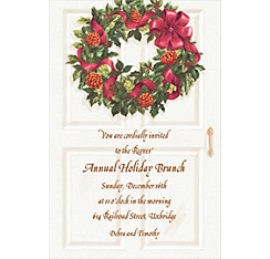 Front Door with Wreath Custom Christmas Invitation