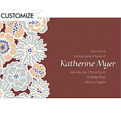 Big Blue Bloom Pattern Custom Invitation