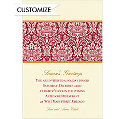 Holiday Damask Red Custom Christmas Invitation