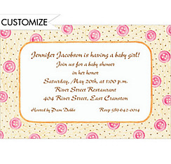 Pink Buttons Custom Baby Shower Invitation