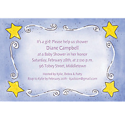 Sweet Stars & Swirls Custom Baby Shower Invitation