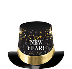 Black, Gold & Silver New Year's Top Hat