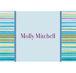 Blue Watercolor Stripe Custom Thank You Note