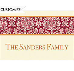 Holiday Damask Red Custom Christmas Thank You Note