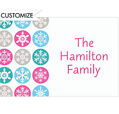 Mod Snowflakes Pink Custom Christmas Thank You Note