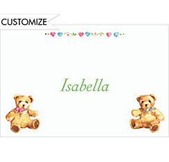 Teddy Bears with Pink and Blue Custom Baby Shower Thank You Note