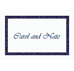 Narrow Navy Damask Custom Thank You Note