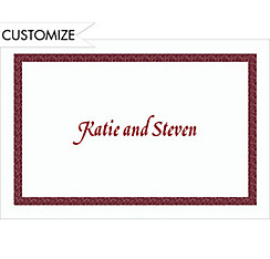 Narrow Maroon Texture/White Custom Thank You Note