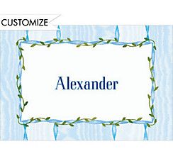 Blue Buds and Cross Custom Thank You Note