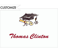 Custom Black Fun Cap & Diploma Graduation Thank You Notes