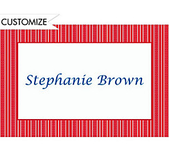 Bright Red Ticking Stripe Custom Thank You Note