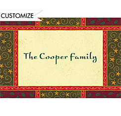 Christmas Woodblock Custom Thank You Note