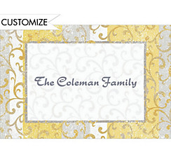 Gold Scroll on Stripe Custom Christmas Thank You Note