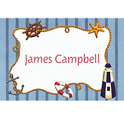 Nautical Objects on Stripe Custom Thank You Note