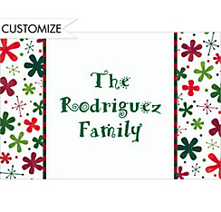 Retro Blossoms and Stars Custom Christmas Thank You Note
