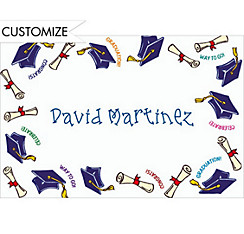 Blue Tossed Grad Caps Custom Thank You Notes