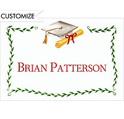 Custom White Mortarboard & Ivy Graduation Thank You Notes