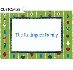 Ornament Stripes Custom Christmas Thank You Note