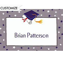 Graduate Star Pattern Custom Thank You Notes