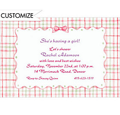 Pink Plaid with Ribbon Custom Baby Shower Invitation