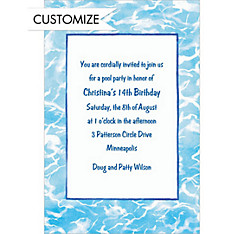Swimming Pool Border Custom Invitation