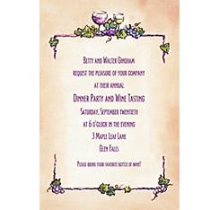 Grapes and Wine Border Custom Invitation