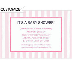 Pink Stripes Custom Baby Shower Invitation