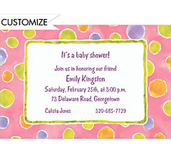 Watercolor Polkadots Custom Baby Shower Invitation