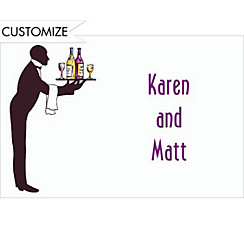 Waiter Silhouette Custom Thank You Note